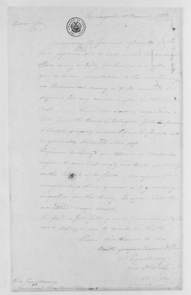 George Washington Papers, Series 4, General Correspondence: Mordecai Gist to George Washington, December 15, 1780
