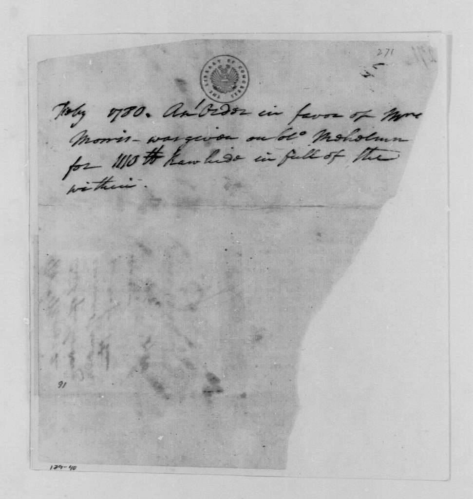 George Washington Papers, Series 4, General Correspondence: Morris to John Mehelm, February 1780, Order for Shoes