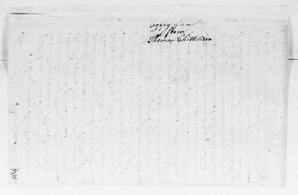 George Washington Papers, Series 4, General Correspondence: Thomas Chittenden to Goose van Schaick, January 14, 1780