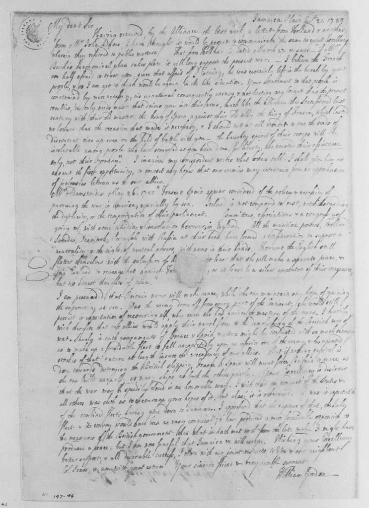 George Washington Papers, Series 4, General Correspondence: William Gordon to George Washington, August 21, 1780