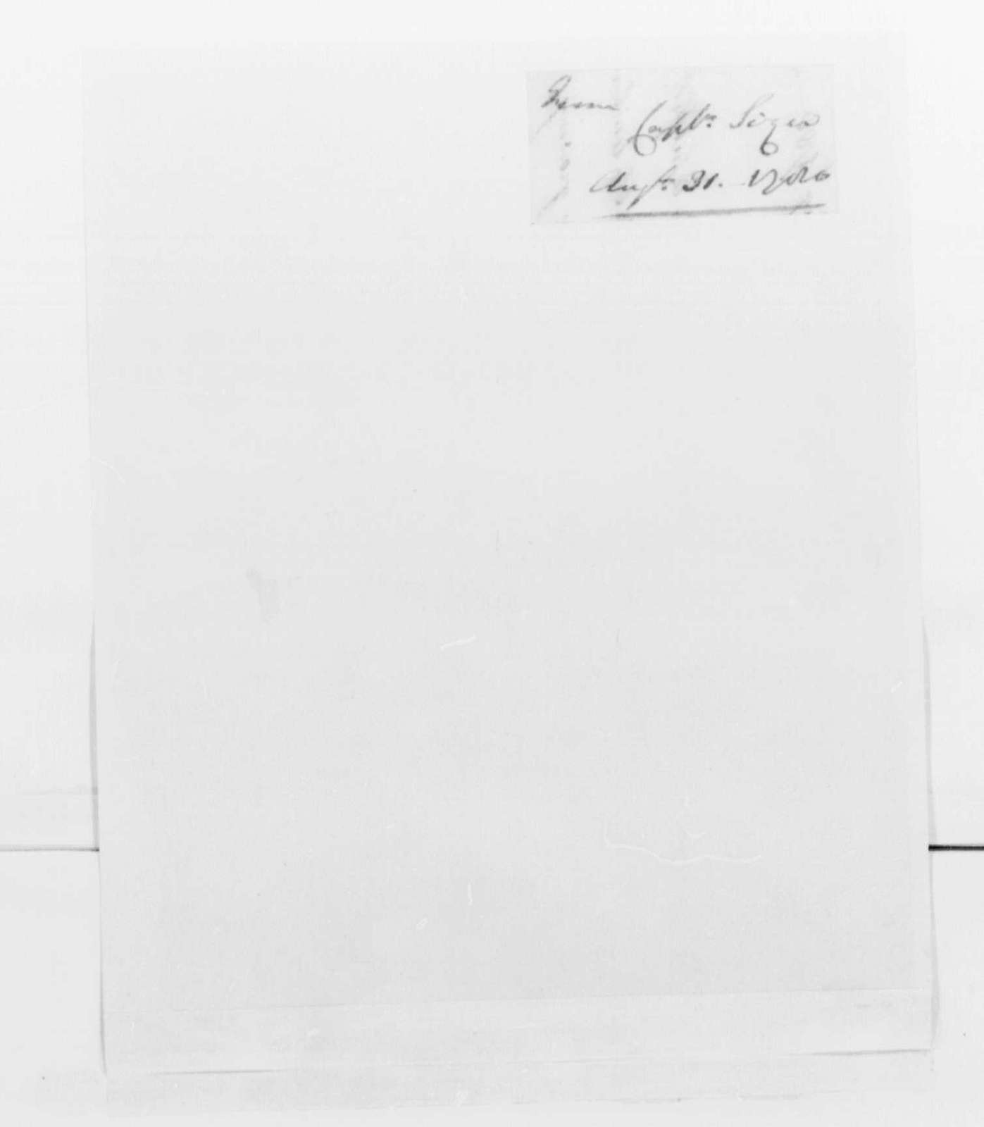 George Washington Papers, Series 4, General Correspondence: William Sizer to Benedict Arnold, August 31, 1780