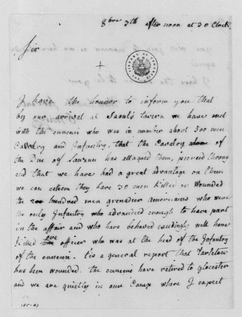 George Washington Papers, Series 4, General Correspondence: Claude Gabriel, Duc de Choisy to George Washington, October 3, 1781