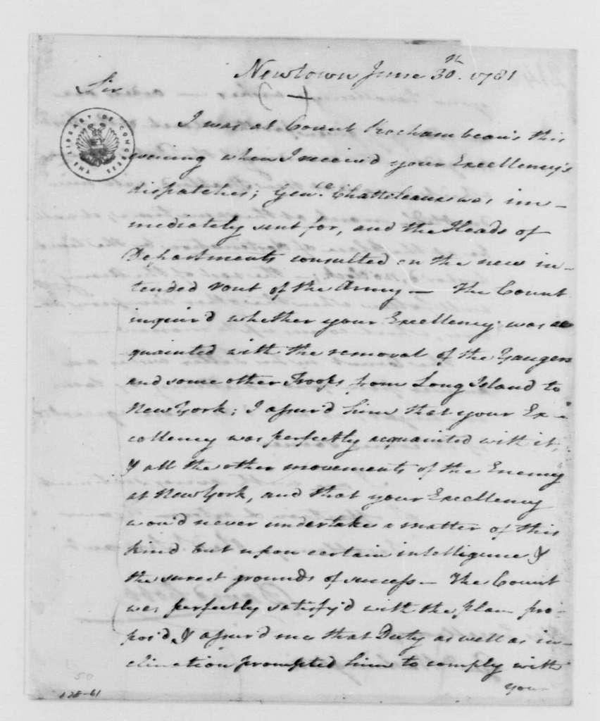 George Washington Papers, Series 4, General Correspondence: David Cobb to George Washington, June 30, 1781