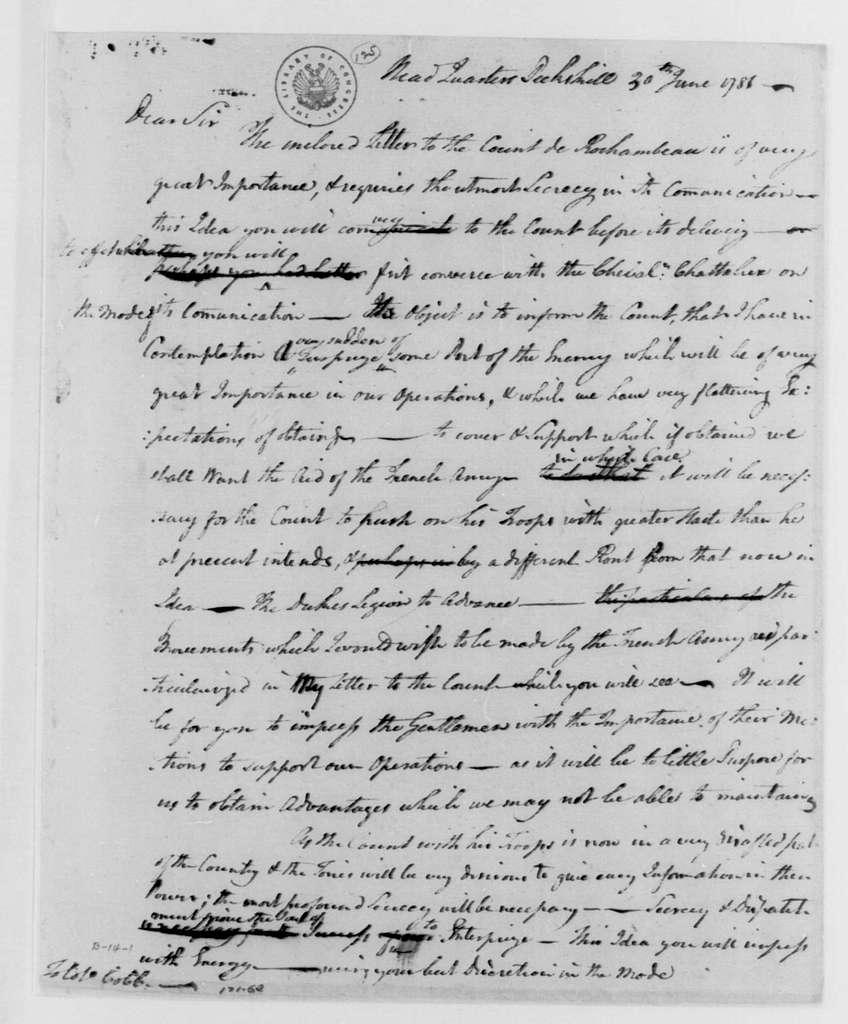 George Washington Papers, Series 4, General Correspondence: George Washington to David Cobb, June 30, 1781