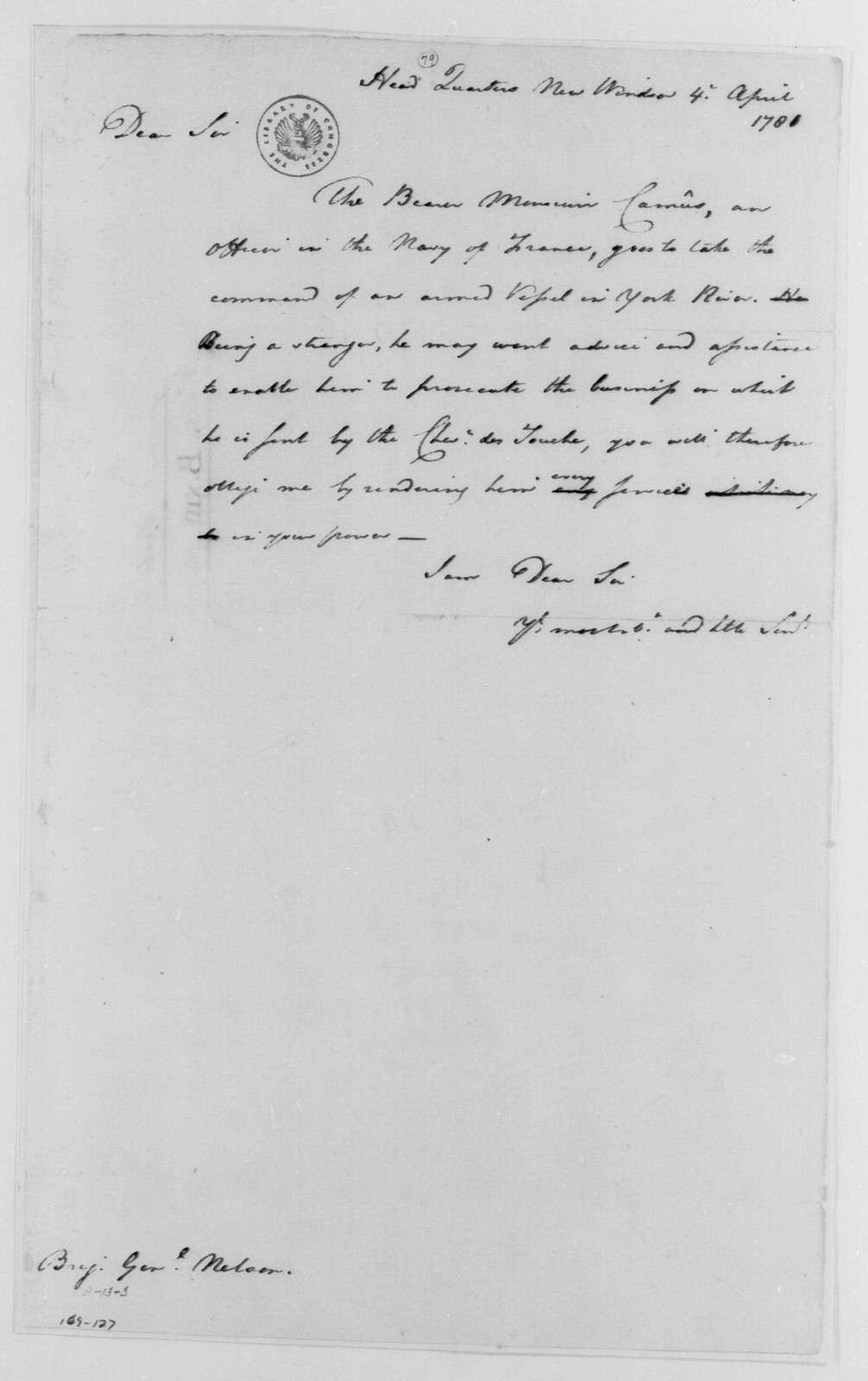 George Washington Papers, Series 4, General Correspondence: George Washington to Thomas Nelson Jr., April 4, 1781