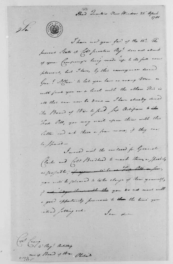 George Washington Papers, Series 4, General Correspondence: George Washington to Isaac Craig, April 25, 1781