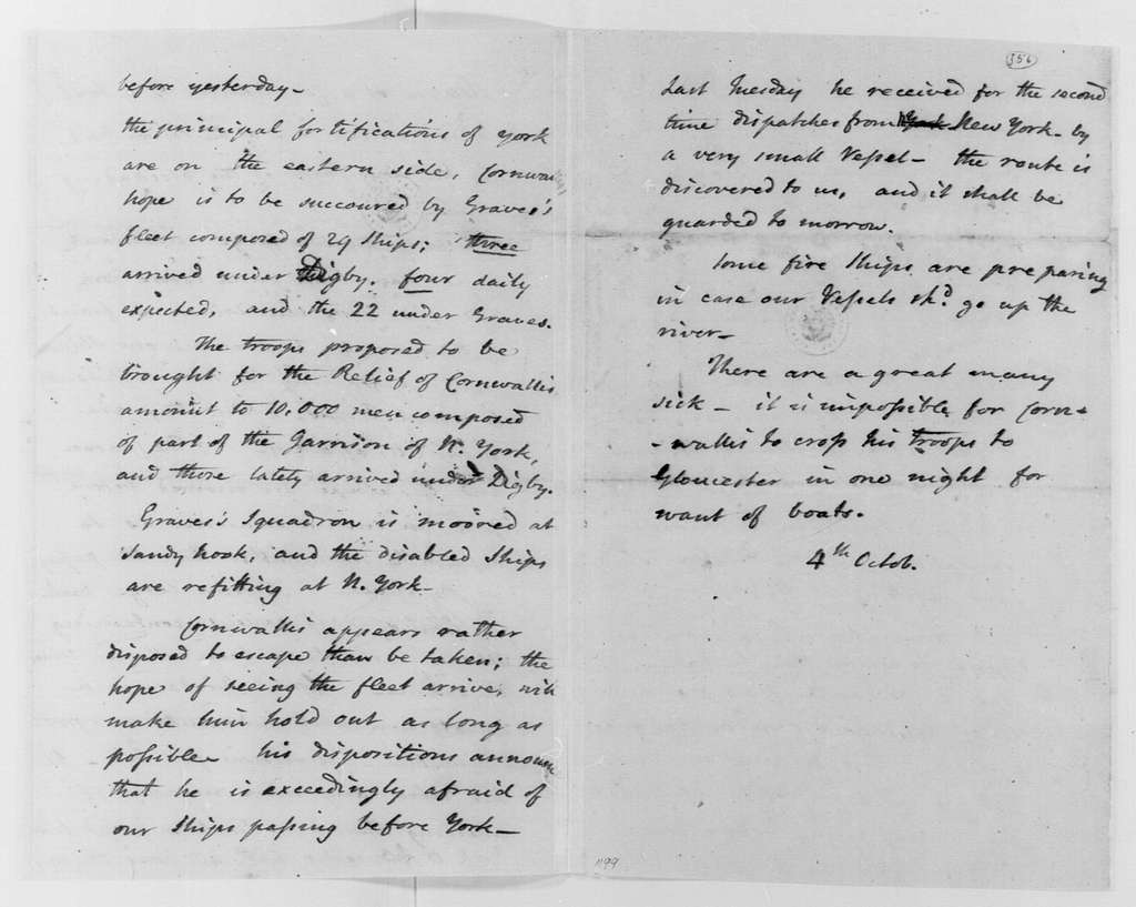 George Washington Papers, Series 4, General Correspondence: John Laurens, October 4, 1781, Intelligence Summary
