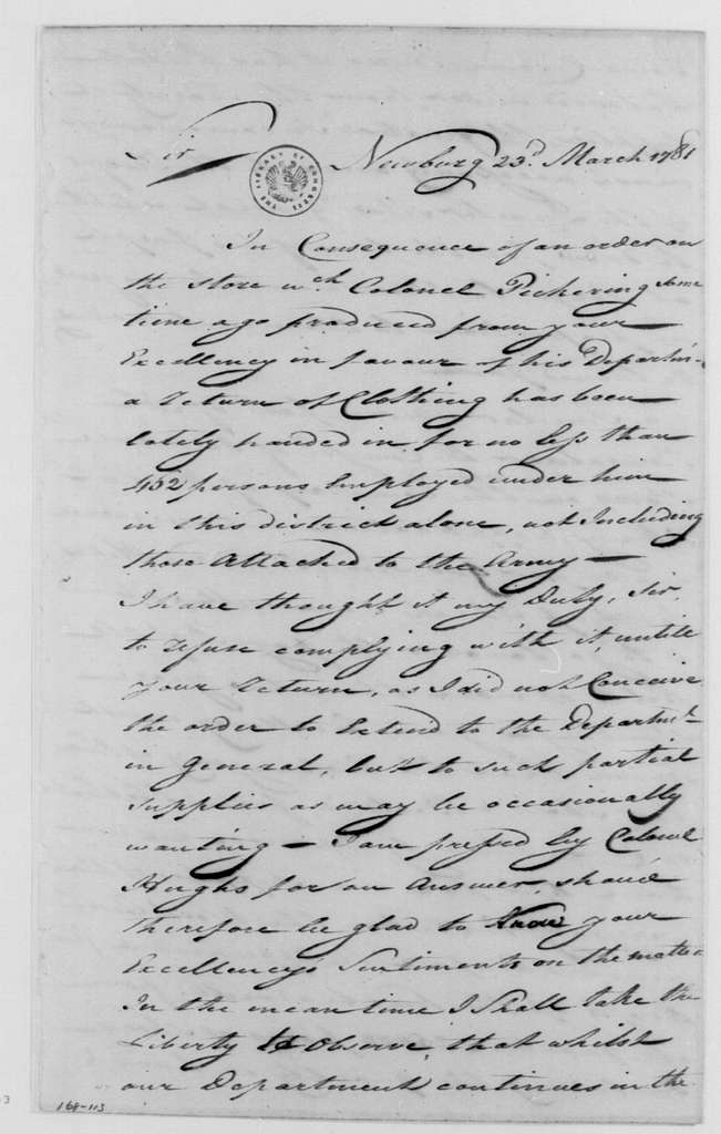 George Washington Papers, Series 4, General Correspondence: John Moylan to George Washington, March 23, 1781