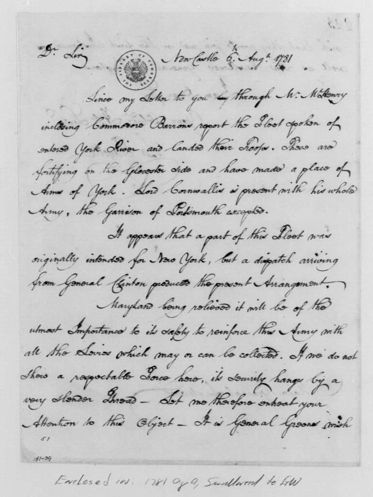 George Washington Papers, Series 4, General Correspondence: Marie Joseph Paul Yves Roche Gilbert du Motier, Marquis de Lafayette to William Smallwood, August 6, 1781