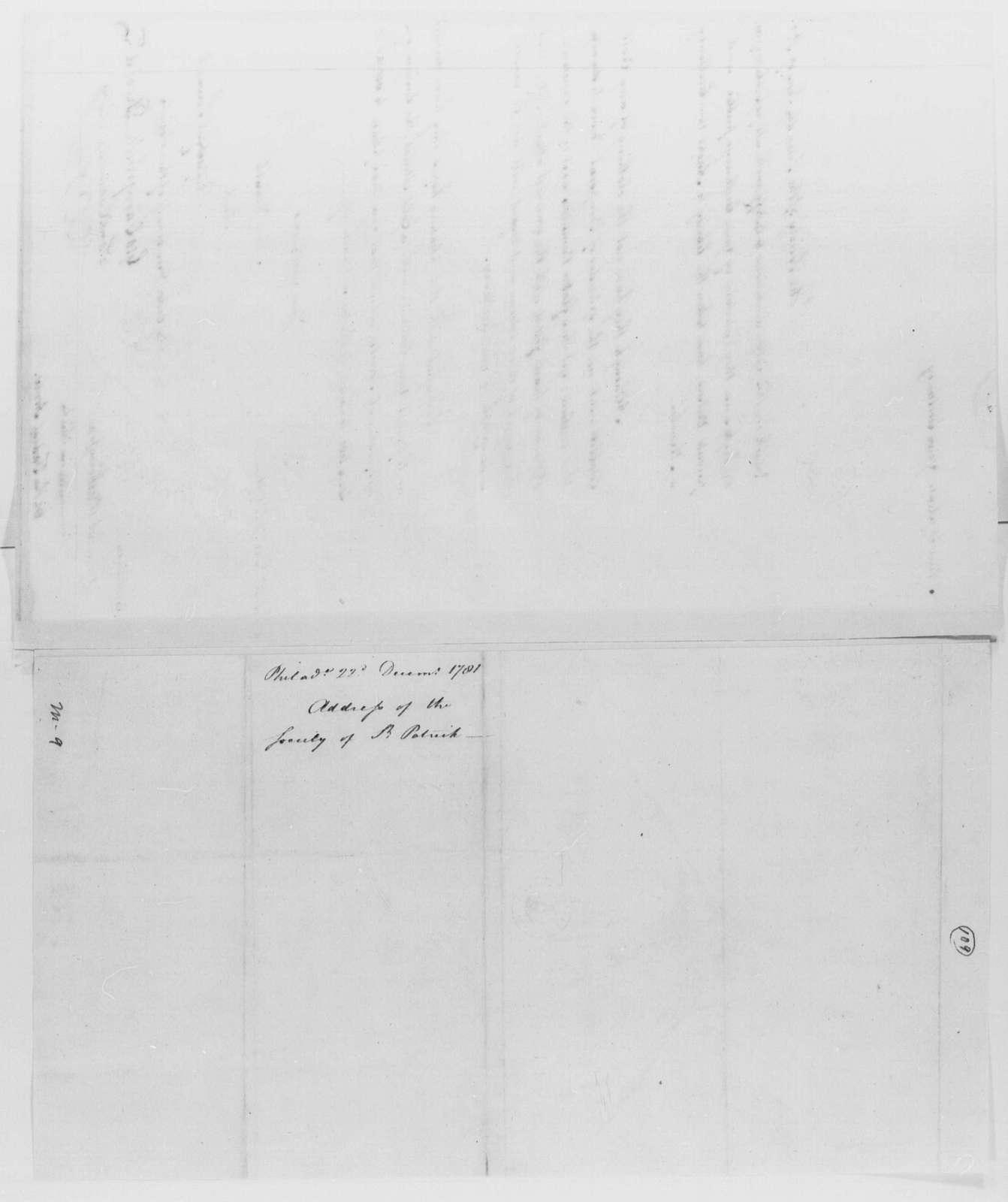 George Washington Papers, Series 4, General Correspondence: Philadelphia St. Patrick Society to George Washington, December 22, 1781