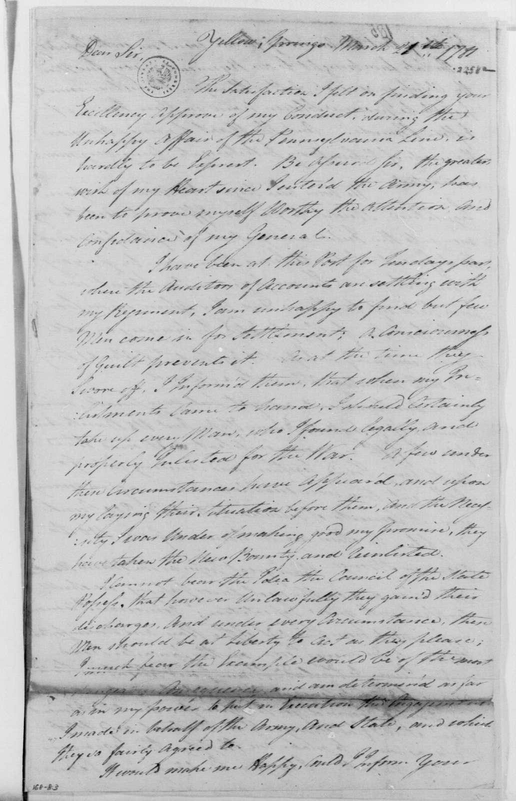George Washington Papers, Series 4, General Correspondence: Walter Stewart to George Washington, March 21, 1781