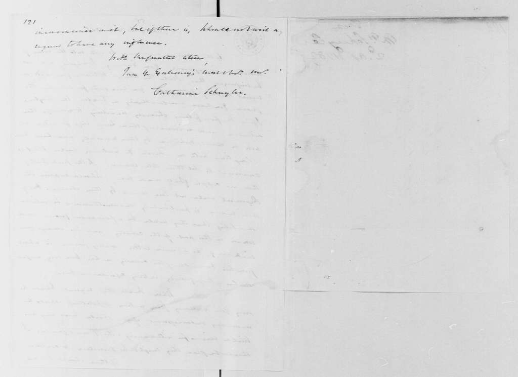 George Washington Papers, Series 4, General Correspondence: Catherine Schuyler to George Washington, April 2, 1782, 19th-Century Transcription by William B. Sprague, with Original Cover
