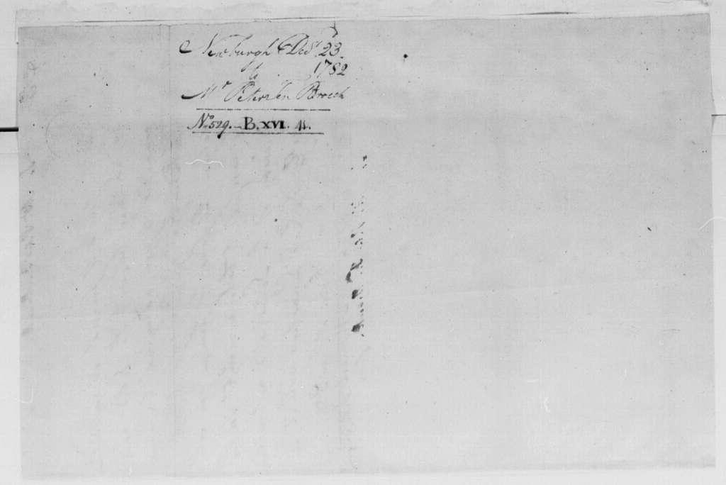 George Washington Papers, Series 4, General Correspondence: George Washington to Peter Ten Broeck, December 23, 1782