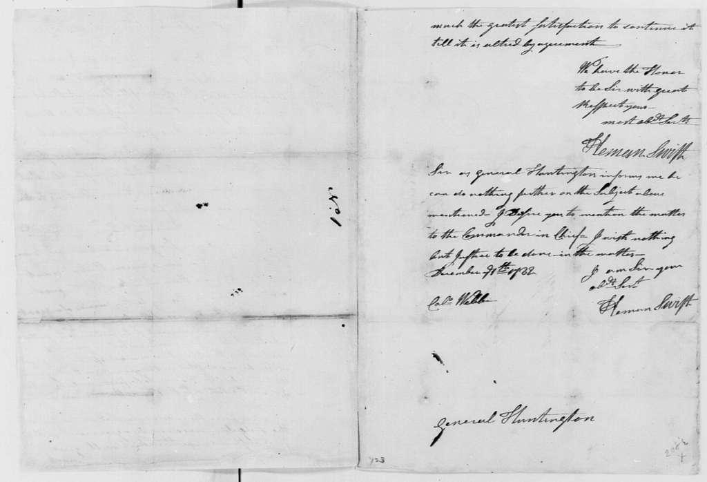 George Washington Papers, Series 4, General Correspondence: Heman Swift to Jedidiah Huntington, November 22, 1782