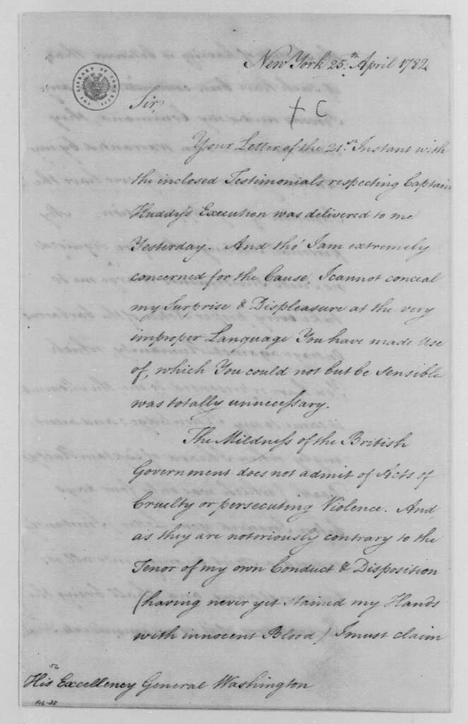 George Washington Papers, Series 4, General Correspondence: Henry Clinton to George Washington, April 25, 1782, with Copy