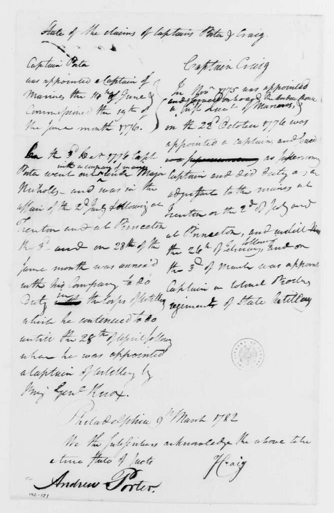 George Washington Papers, Series 4, General Correspondence: Isaac Craig and Andrew Porter, March 9, 1782, Statement on Claim to Rank
