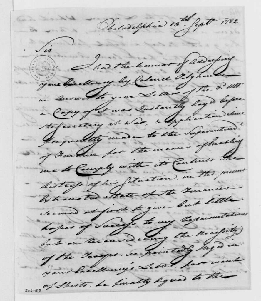 George Washington Papers, Series 4, General Correspondence: John Moylan to George Washington, September 13, 1782