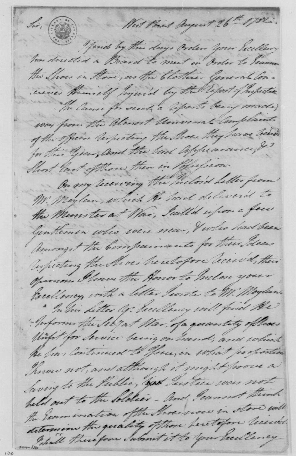 George Washington Papers, Series 4, General Correspondence: Walter Stewart to George Washington, August 26, 1782