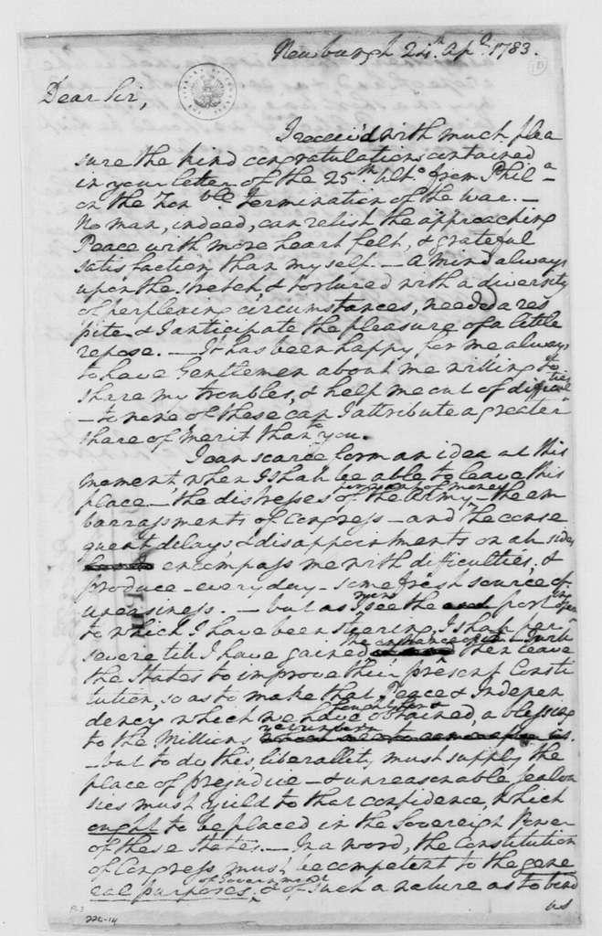 George Washington Papers, Series 4, General Correspondence: George Washington to Tench Tilghman, April 24, 1783