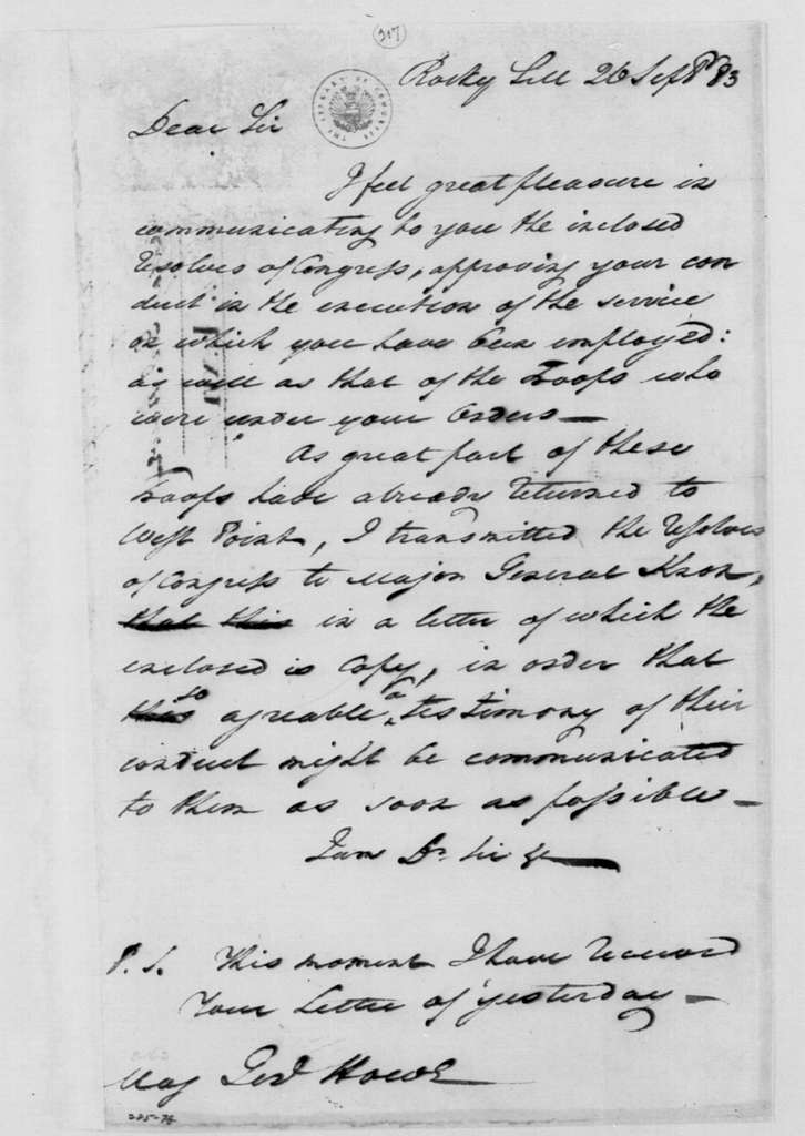 George Washington Papers, Series 4, General Correspondence: George Washington to Robert Howe, September 26, 1783
