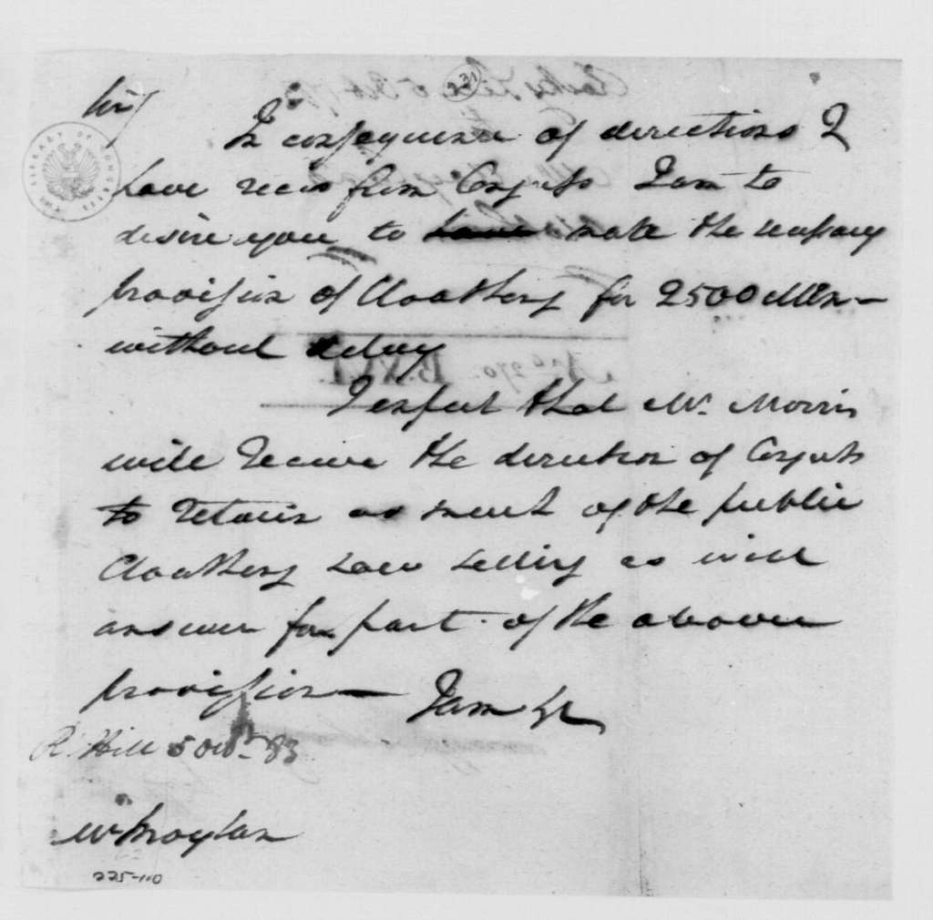 George Washington Papers, Series 4, General Correspondence: George Washington to John Moylan, October 5, 1783