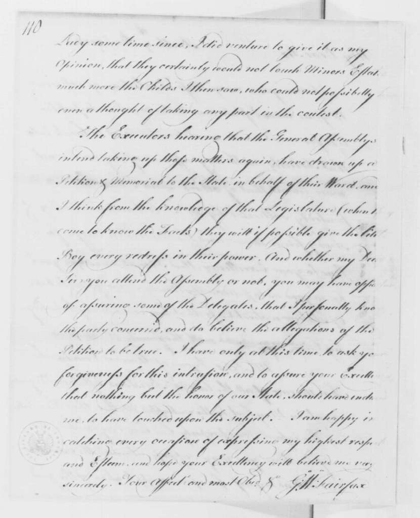 George Washington Papers, Series 4, General Correspondence: George William Fairfax to George Washington, December 9, 1783