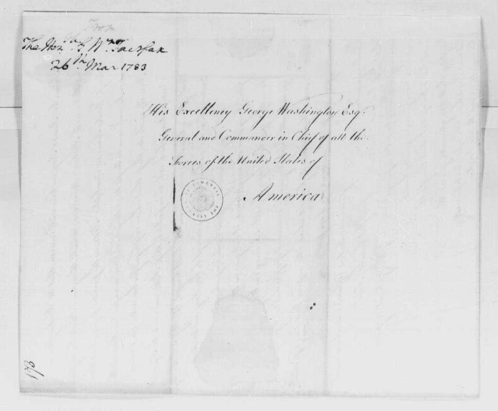 George Washington Papers, Series 4, General Correspondence: George William Fairfax to George Washington, March 26, 1783