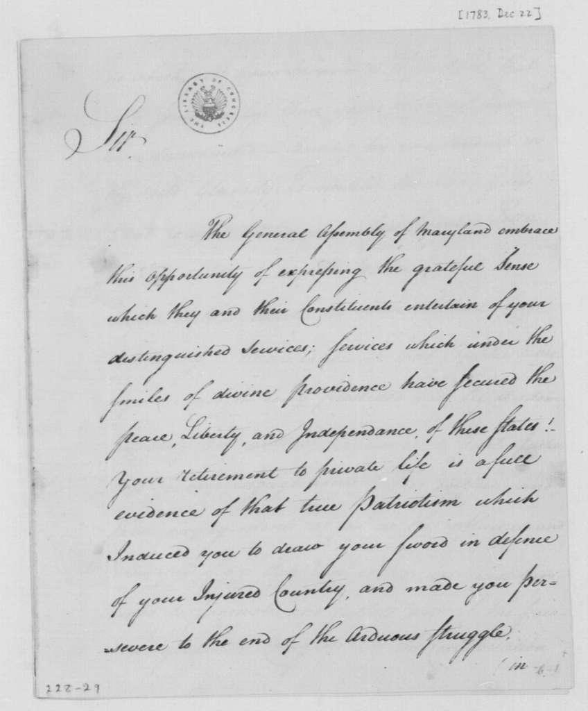 George Washington Papers, Series 4, General Correspondence: Maryland Legislature to George Washington, December 22, 1783