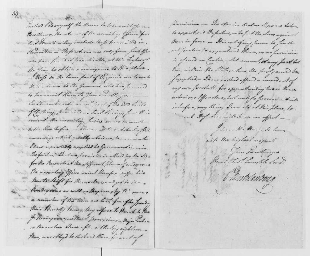 George Washington Papers, Series 4, General Correspondence: Peter Muhlenberg to George Washington, January 13, 1783, with Recruit Return