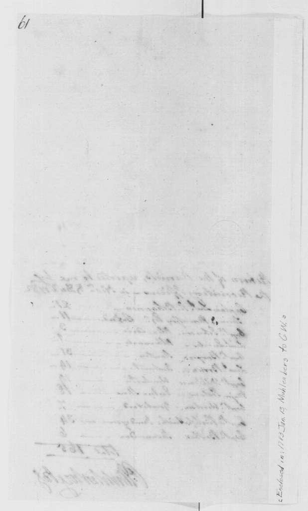 George Washington Papers, Series 4, General Correspondence: Peter Muhlenberg to George Washington, January 13, 1783, with Recruit Return