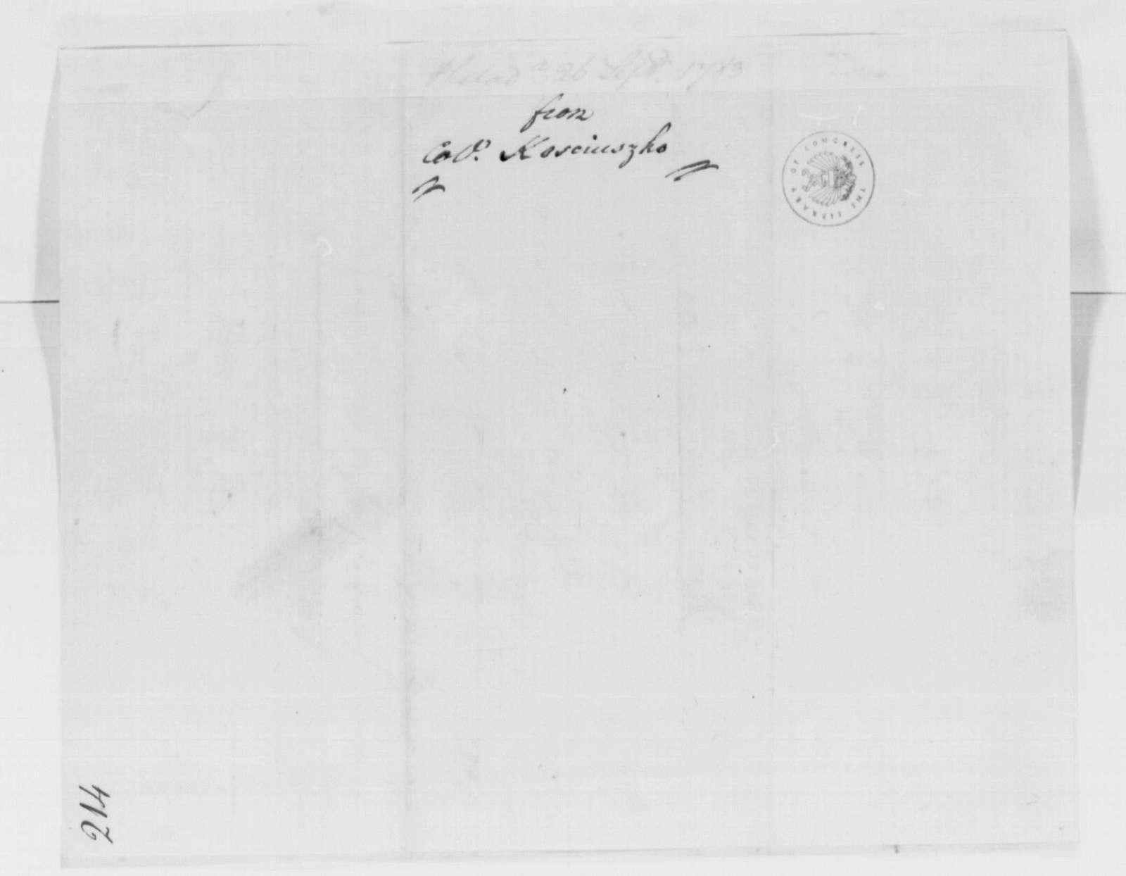 George Washington Papers, Series 4, General Correspondence: Thaddeus Kosciuszko to George Washington, September 26, 1783
