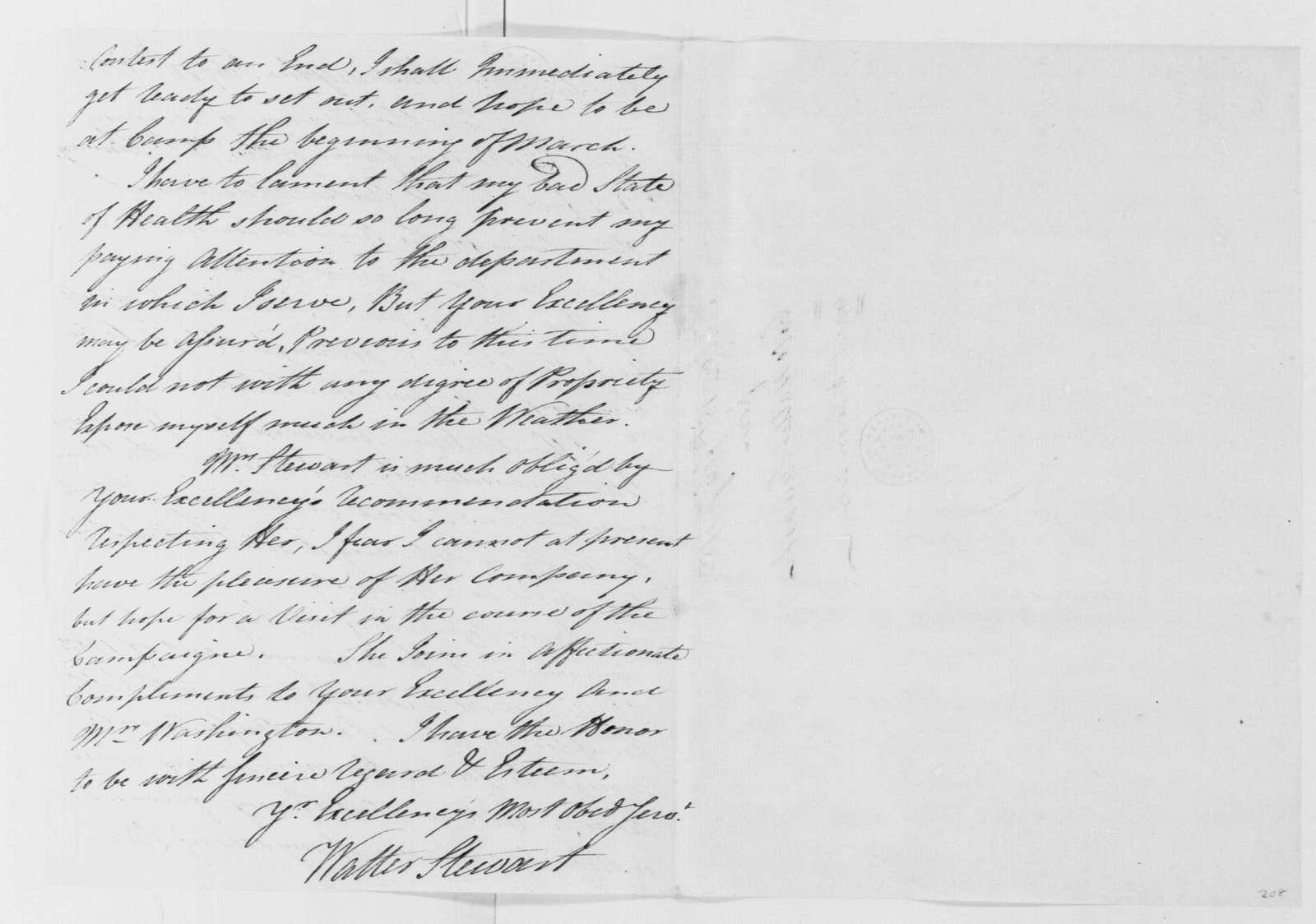 George Washington Papers, Series 4, General Correspondence: Walter Stewart to George Washington, February 18, 1783