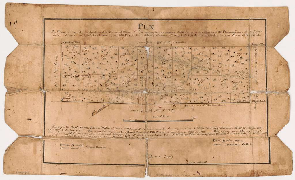 Plan of a tract of land (marked in the General Plan no. 7), containing in the whole 5000 acres, & divided into 20 plantations of 250 acres each, situate on a left hand branch of Elk River, & on the head waters of Salt Lick Creek, in Harrison County, State of Virginia