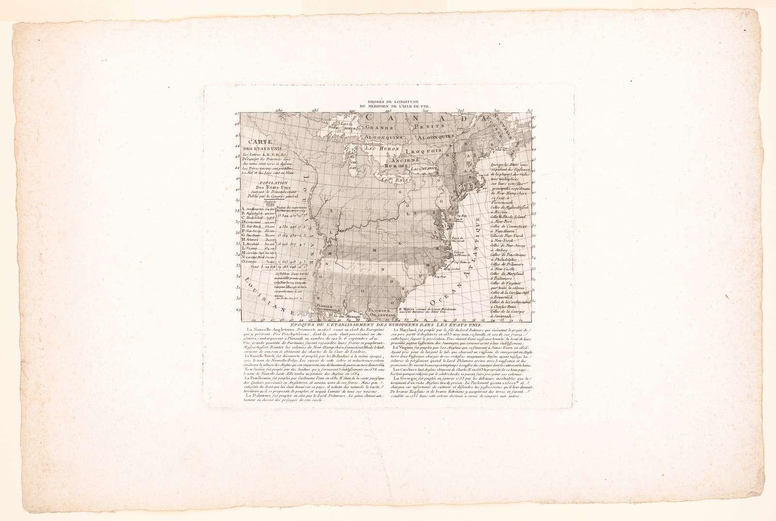 Époques de l'établissement des Européens dans les États unis R. Marys servant de Limite Méridionale aux Côtes Maritimes des Etats Unis