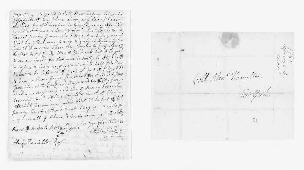 Alexander Hamilton Papers: General Correspondence, 1734-1804; 1785