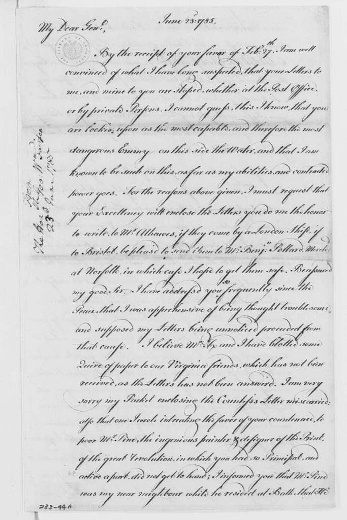 George Washington Papers, Series 4, General Correspondence: George William Fairfax to George Washington, June 23, 1785