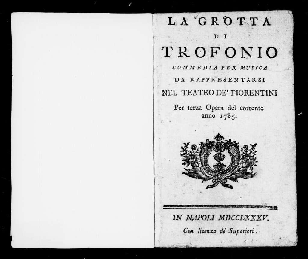 Grotta di Trofonio. Libretto. Italian