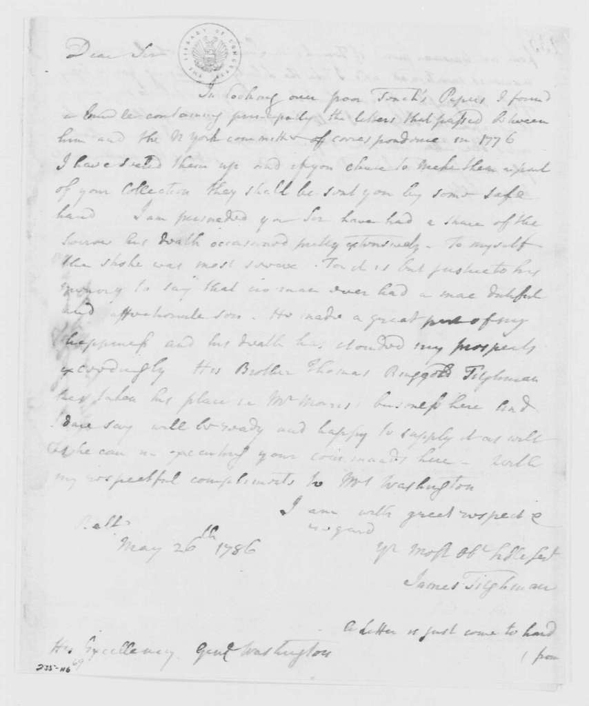 George Washington Papers, Series 4, General Correspondence: James Tilghman to George Washington, May 26, 1786