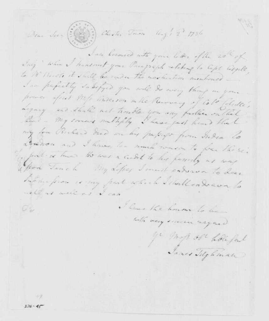 George Washington Papers, Series 4, General Correspondence: James Tilghman to George Washington, August 2, 1786