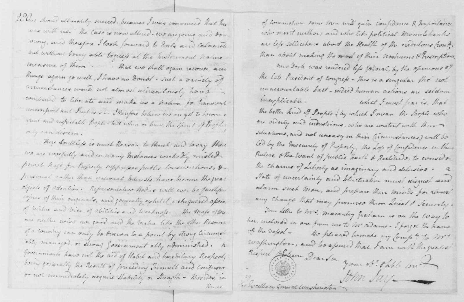 George Washington Papers, Series 4, General Correspondence: John Jay to George Washington, June 27, 1786