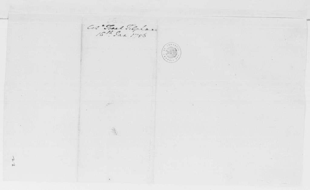 George Washington Papers, Series 4, General Correspondence: Tench Tilghman to George Washington, January 16, 1786
