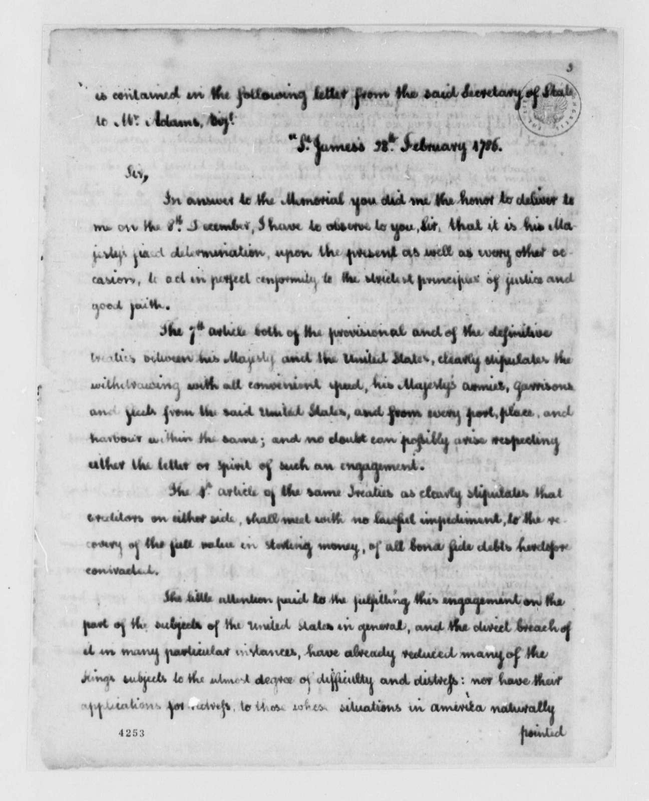 John Jay to United States Congress, October 13, 1786, Report on Delay by British Troops in Withdrawing from the United States