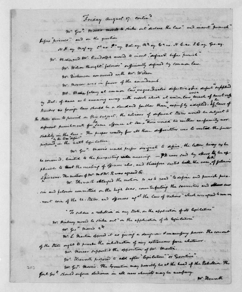 James Madison. James Madison's Original Notes on Debates at the Federal Constitutional Convention(Part 2 - July 26, 1787 -
