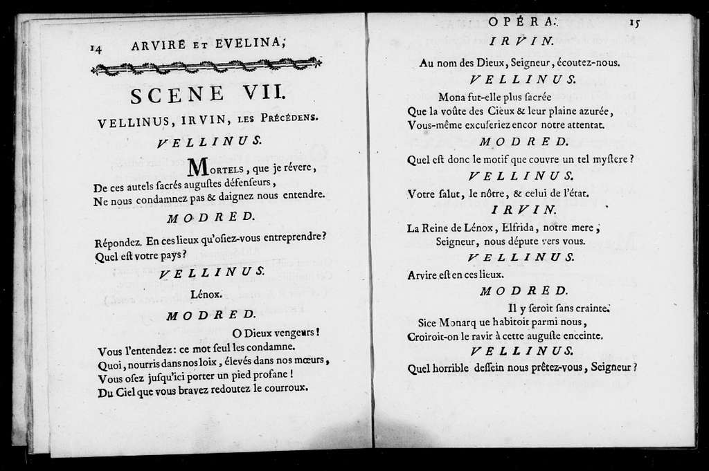 Arvire et Evelina. Libretto. French
