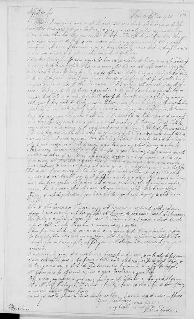 George Washington Papers, Series 4, General Correspondence: William Gordon to George Washington, September 24, 1788