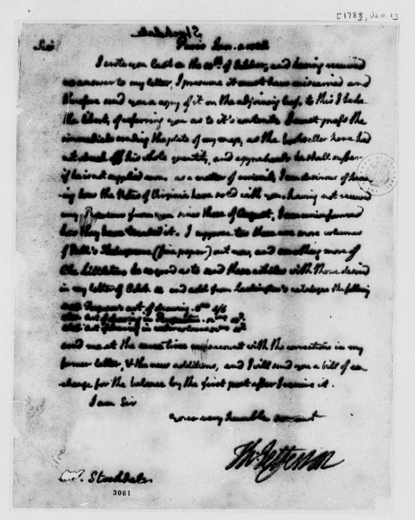 Thomas Jefferson to John Stockdale, January 1, 1788