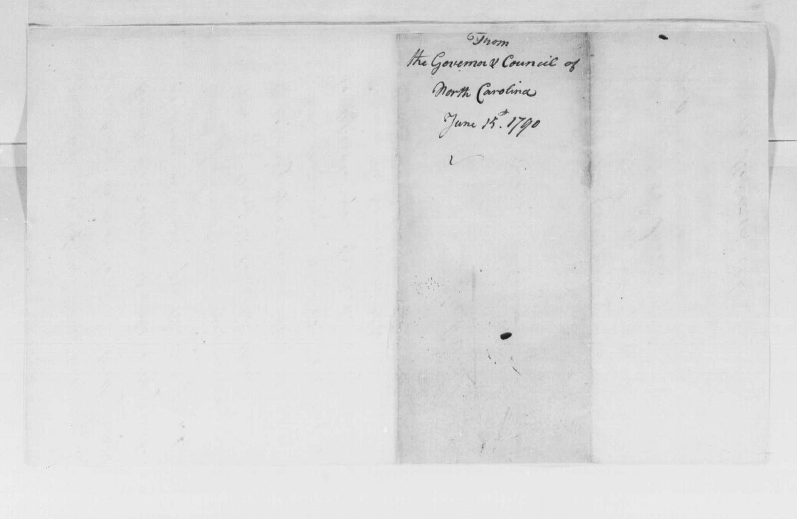 George Washington Papers, Series 4, General Correspondence: North Carolina Governor (Alexander Martin) and Council (Wygate Hawkins) to George Washington, June 25, 1790