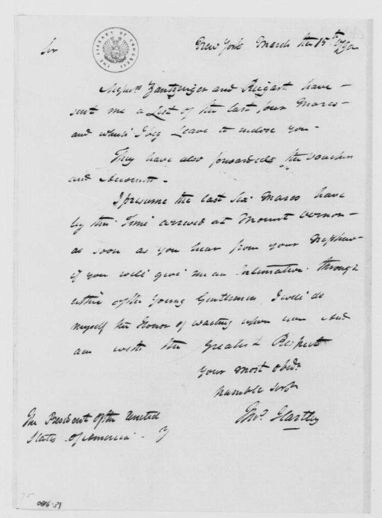 George Washington Papers, Series 4, General Correspondence: Thomas Hartley to George Washington, March 15, 1790