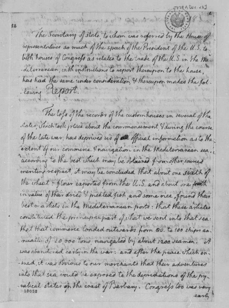 Thomas Jefferson to House of Representatives, December 28, 1790, Report with Copies