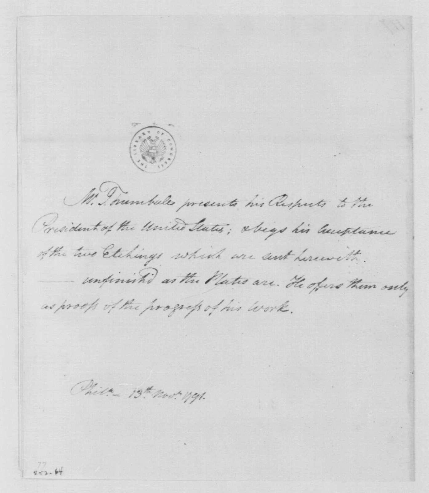 George Washington Papers, Series 4, General Correspondence: John Trumbull to George Washington, November 13, 1791